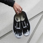Custom, hand painted London Skyline Vans featuring the Big Ben, London eye, and other building silhouettes visible in the London Skyline. Displayed in front of the Broad Museum in Los Angeles, CA.