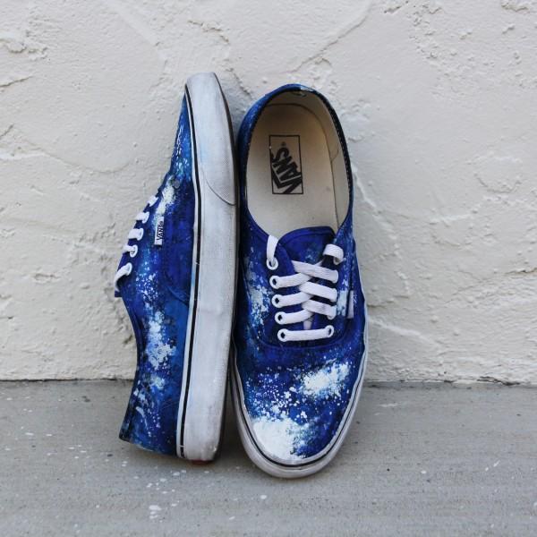 Custom, hand painted Ocean Vibes Vans shoes featuring a ocean wave pattern.