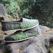 Custom, hand painted Maidenhair Fern TOMS shoes. Displayed at Hidden Villa Ranch in Los Altos, CA.