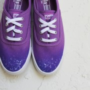 Custom, hand painted Purple Ombre Keds shoes featuring a purple gradient ombre with white splash.