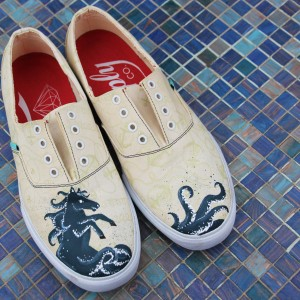 Custom, hand painted Seahorse shoes featuring a fantasy creature with a horse upper body and octopus legs.