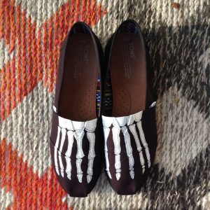 Custom, hand painted Skeleton Feet adult TOMS.