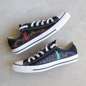 Custom, hand painted East Coast vs. West Coast Converse shoes featuring the Golden Gate Bridge from San Francisco, California and the Statue of Liberty from New York, New York.